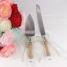 Etbotu Wrapped Griffe Server Set Mit Edelstahl Klingen Flachs Seil Und Moderne  Design Hochzeit Party Kuchen