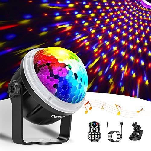 Discokugel LED Party Lampe OMERIL Disco Licht Partylicht mit Sternenmuster 10 Farbe RGBY Musikgesteuert Disco Lichteffekte 360° Drehbares Discolampe mit Fernbedienung für Weihnachten, Party, Kinder