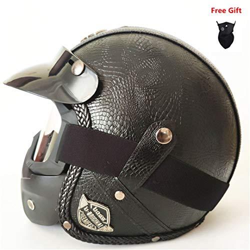 MetHlonsy Jethelm Motorrad DOT genehmigt Visier PU Leder Vintage Motorrad Kopfbedeckung PU Crocodile Skin S