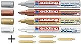 Juego de 4Edding Lack Marker 750+ 5Puntas de repuesto colores: Blanco, Oro, Plata, Cobre