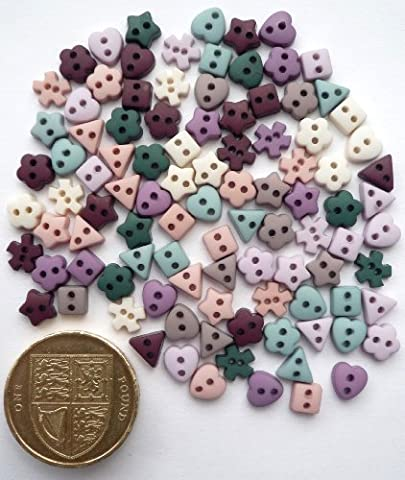 MINI SHAPES VINTAGE Palette Colours. Novelty Craft Buttons & Embellishments by Dress It Up