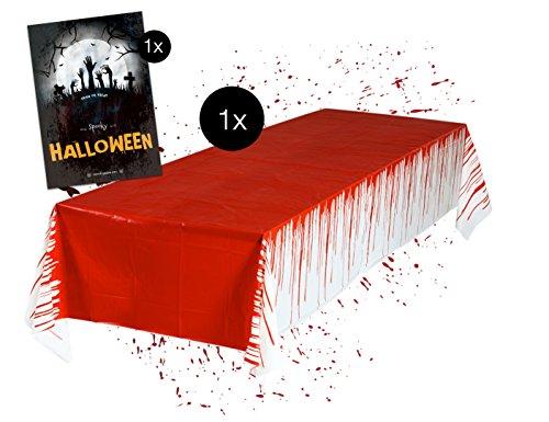 TK Gruppe Timo Klingler Tischtuch blutige Gruselige Tischdecke Halloween 137 x 275 cm Deko Dekoration Tisch ()