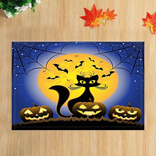 GzHQ Happy Halloween Badteppiche Schwarze Katze Gothic Kürbisse Gegen Mond in der Nacht rutschfeste Fußmatte Boden Eingänge Indoor Haustürmatte Kinder Badematte 15.7x23.6in Badaccessoires
