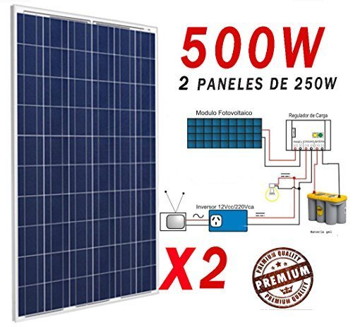 2PANEL SOLAR DE 250W TOTAL 500W. Mas Descripción mira ultima foto... More description look at last photo..Tipo Típico 250W Max-Power (Pmax) w 250W Max-Power Tensión (Vmp) 30.39 Max-Power actual (Imp) 8,23 De circuito abierto Voltaje (Voc) 36.97 La co...