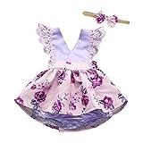 Longra Neugeborene Kleidung Baby Kleider Mädchen Ärmellos Spitze Strampler Blumemuster Overall Baby Bodys Kleider Schöne Kleider Mädchen Prinzessin Kleider mit Stirnband (Lila, 80CM 6Monate)