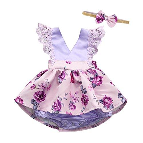 (Longra Neugeborene Kleidung Baby Kleider Mädchen Ärmellos Spitze Strampler Blumemuster Overall Baby Bodys Kleider Schöne kleider Mädchen Prinzessin Kleider mit Stirnband (Lila, 90CM 12Monate))
