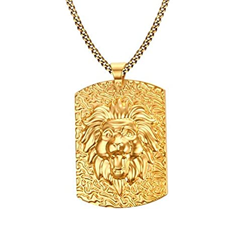 GYJUN Men's Fashion Generous Lion Rectangle Stainless Steel Gold Plated Pendant Necklaces(1pc) , one size