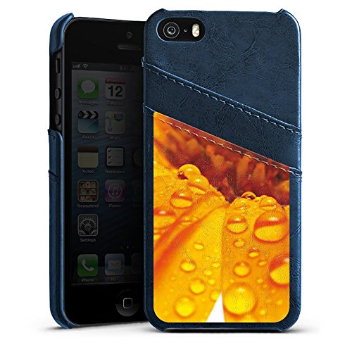 Apple iPhone 5s Housse Étui Protection Coque Fleur Fleur Gouttes Étui en cuir bleu marine