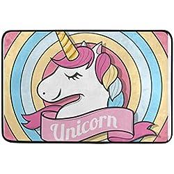 COOSUN Feliz Unicornio Cara Felpudo, Entrada de Forma Cubierta Exterior Alfombra Puerta con Cubierta Antideslizante, (23,6 por 15,7 Pulgadas) 23.6x15.7 Pulgadas Multicolor