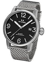 TW Steel Maverick Unisex Quarzuhr mit schwarzem Zifferblatt, Analoganzeige und grauem Edelstahl Armband