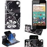 K-S-Trade Schutzhülle für Archos 50e Neon Hülle 360° Wallet Case Schutz Hülle ''Flowers'' Smartphone Flip Cover Flipstyle Tasche Handyhülle schwarz-weiß 1x