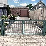 Homcom - cancello a doppia anta da giardino, 450 cm, con set serratura, colore: Verde, Verde