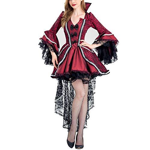 PAOFU-Erwachsene Edler GRAF Vampir Kostüm Halloween Karneval Verkleidung Damen - Gothic Graf Kostüm