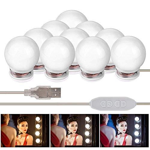 Hollywood Stil LED Spiegelleuchte, Basein LED Spiegellampe Schminklicht, 10 LEDs Make Up Licht Mit 3 Licht Modus und 10 Dimmbare Helligkeiten für Valentinstag, Kosmetikspiegel, Schminktisch/Badzimmer