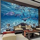 Zxfcccky 3D Wallpaper Cartoon Kreative Submarine World Marine Life Wandbild Kinder Schlafzimmer Aquarium Wohnzimmer Hintergrund Tapeten Wohnkultur-120X100CM