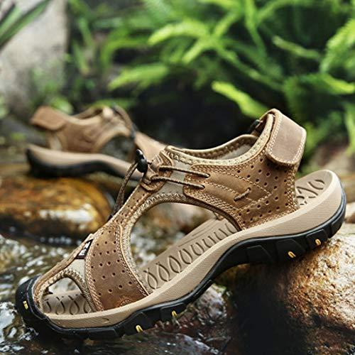 TD L7236 Männer Breathable Echtes Leder Sandalen Outdoor Freizeit Rutschfeste Strand Schuhe Jugend Sandalen Herrenschuhe (Farbe : Dunkelbraun, größe : EU40/UK7/CN41) -