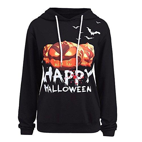 TUDUZ Damen Halloween Kürbis Drucken Kostüm Große Größen Langarm Hoodie Sweatshirt Pullover Tunika Tops Bluse