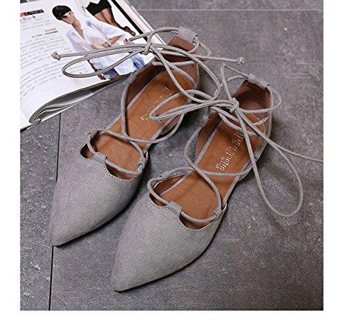 Minetom Donna Ragazza Estate Stile Dolce Traspirante Cinturino Caviglia Piatto Scarpe Elegante Balletto Danza Scarpe Con Lacci Partito Grigio