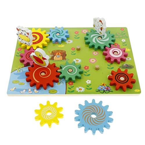 KESOTO Montessori Zahnradspiel - Drehbare Zahnräder aus Holz - 30x22,5cm - Zahnrad-puzzle