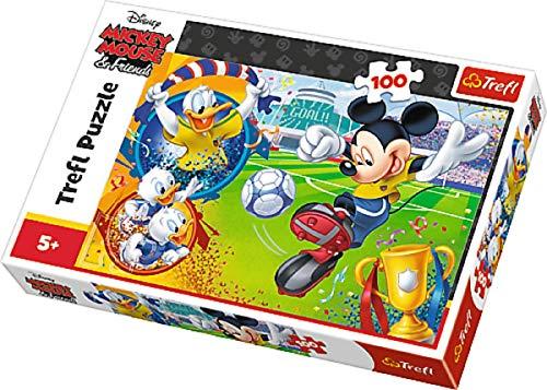 Puzzles Micki Mickey Mouse Maus beim Fußball Fussball spielen Motiv 100 Teile ab 5 Jahre Geschenk Idee für Mädchen Jungen Ostern Geburtstag Weihnachten Mitbringsel ()