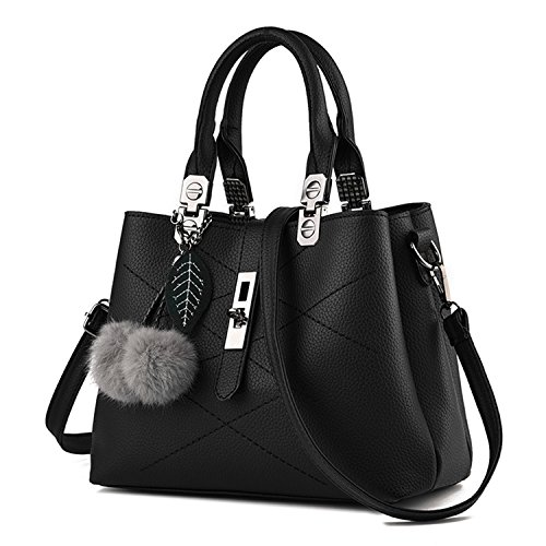 Young & Ming - Donna Borsa a spalla Borsa Tote Borsa a Mano in pelle Handbag con fuzzy ball Nero