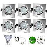 Spots LED Encastrables Orientable Carré, Bojim 6x GU10 6W Blanc Neutre 4500K...