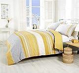 Türkisch Gemustert Geometrisch Gestreift Gelb Gold Baumwollmischung Einzelbett Bettbezug