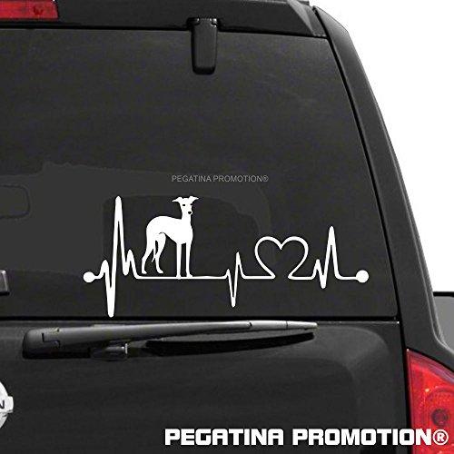 Herzschlag Italienisches Windspiel Italian Greyhound Aufkleber 20 cm von Pegatina Promotion ® ohne Hintergrund aus Hochleistungsfolie für Lack und Scheibe,Autoaufkleber, Laptop, Wandtattoo, Küche, Hund Hunde Dogs Sticker Herzlinie Hundefan