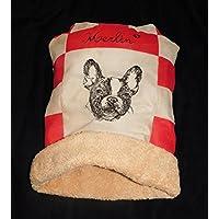 LunaChild Hunde Kuschelhöhle Französische Bulldogge 2 beige rot Hundebett Größe S M oder L Name Snuggle Bag in 14 Farben erhältlich