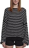 Urban Classics Damen Pullover Ladies Oversize Stripe Sweater, Mehrfarbig (Black/White 00826), Large (Herstellergröße: L)
