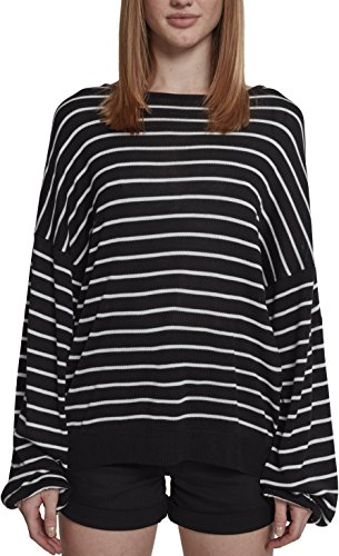 Urban Classics Damen Ladies Oversize Stripe Sweater Pullover, Mehrfarbig (Black/White 00826), Medium (Herstellergröße: M) -