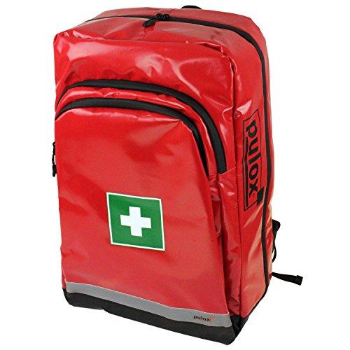 Pulox Erste Hilfe Rucksack, Notfallrucksack mit Modultaschen für den Notfall Einsatz Sport Freizeit Event Fussball (Rucksack Set - Rot) (Anpassen Rucksäcke)