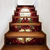 Yzibei Hintergrundwandglasaufkleber Ring Bell Frohe Weihnachten Fliesenmuster Treppenaufkleber Selbstklebende DIY Entfernbare Wandtattoos 6 Teile/Satz