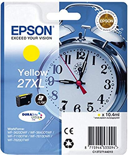 Epson 27 Serie Sveglia, Cartuccia Originale Getto d'Inchiostro DURABrite Ultra, Formato XL, Giallo, con Amazon Dash Replenishment Ready
