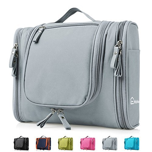 Heavy Duty Waterproof Hanging Toiletry Bag - Travel Cosmetic Makeup Bag for Women & Shaving Kit Organizer Bag for Men - Large Size: 26*11.5*21.5cm (Grey)