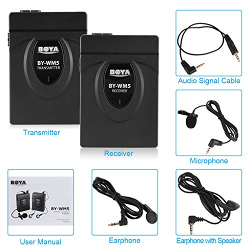 Boya-BY-WM5-Microfono-compatto-fotografica-Video-Wireless-24-GHz-con-microfono-Lavalier-con-connettore-jack-da-35-mm-mini-funzionamento-a-bassa-rumorosit-gamma-Up-tp-senza-ostacoli-60-m-compatibile-co
