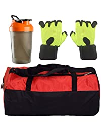 CP Bigbasket Combo Set Polyester Red Sport Gym Duffle Bag Shoe Compartmen, Gym Shaker (400 Ml), Netted Gym & Fitness...