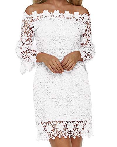 Auxo Damen Schulterfreie Langarm Kleider mit Spitze Elegant Blumen Kurz Abend Etuikleid Weiß EU 36/Etikettgröße S - Hochzeits-abend-kleid