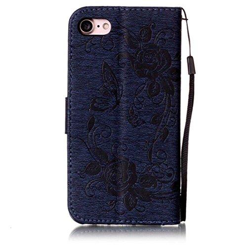 iPhone 7 Coque ( Noir ), Bling Cristal Strass Cuir Etui Rabat Style Portefeuille Case Avec Carte Slots pour Apple iPhone 7 4.7 inch Avec 3D Rose Fleur noir