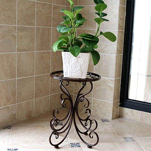 LUO Fleur Racks Côté Européen du Jardin Étagère De Fleur De Fer Plancher Simple Étage Balcon Intérieur Simple Bonsai Cadre,Bronze