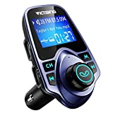 "VicTsing Bluetooth FM Transmitter for Car, Wireless Bluetooth Radio Transmitter Adapter with Hand-Free Calling and 1.44"" LCD Display, Music Player Support TF Card USB Flash Drive AUX -Blue"