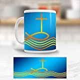 """ADDIES Jesus Tasse Motiv """"Fisch und Kreuz"""" hübscher bedruckter Becher"""