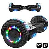 Hoverboard,6.5' Smart Monopattino Elettrico Autobilanciato con 2 * 350W Motore,Self Balance Scooter Skateboard con LED(Carbone Nero)