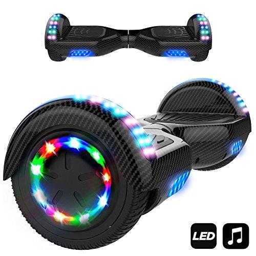 Markboard Gyropode 6,5 Pouces Certifié, Balance Board avec Bluetooth et Pneu à LED de Couleur, Smart Scooter Électrique Auto-équilibrage