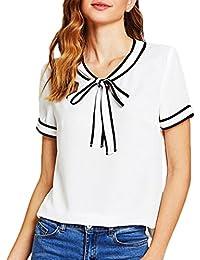 d5f496bf6ea OHQ Haut à NœUd Manches Courtes Femmes Mode Ommy Swag Marque Casual Bowknot  Bandage Rayé Tops T-Shirt Blouse Blanc Humour Grande…
