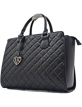 Vain Secrets Damen Handtasche mit Schulterriemen gesteppt oder in Saffiano Prägung