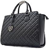 Vain Secrets Damen Handtasche mit Schulterriemen gesteppt oder in Saffiano Prägung (Schwarz...