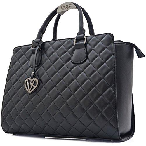 Vain Secrets Damen Handtasche mit Schulterriemen gesteppt oder in Saffiano Prägung (Schwarz Gesteppt) (Tasche Gesteppte Schulter Vintage)