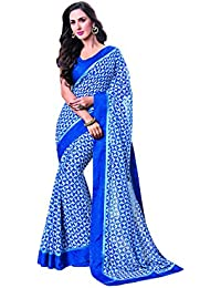 Vishal Prints Blue Printed Saree With Fancy Blue Printed Border With Blouse Piece