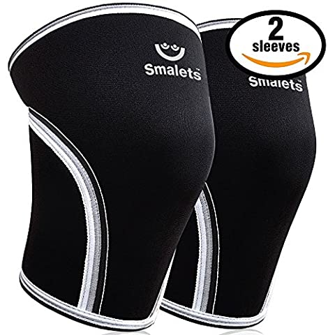 Smalets Knee Sleeves Only For Men – 7 mm Neoprene Compression Support For Weightlifting & Powerlifting, Crossfit & Squats – Knee Brace For the Best Running - 15 Months Warranty (Black,
